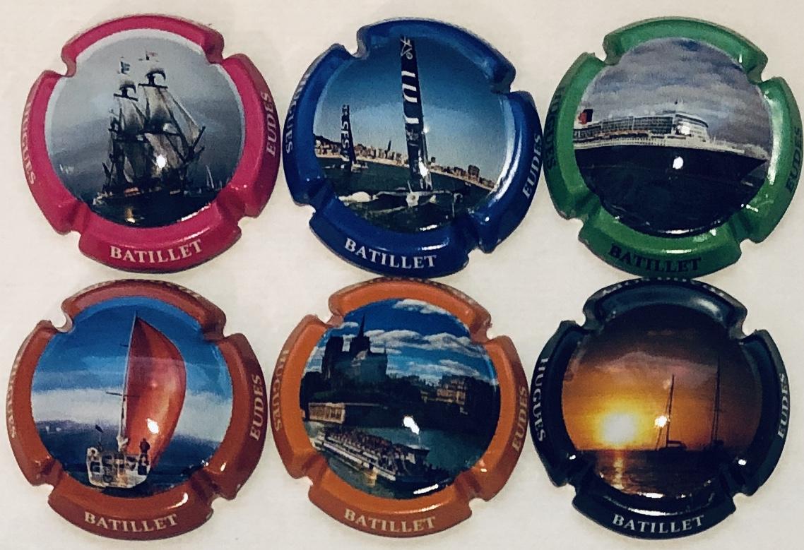 Série de 6 capsules de champagne Batillet Les bateaux